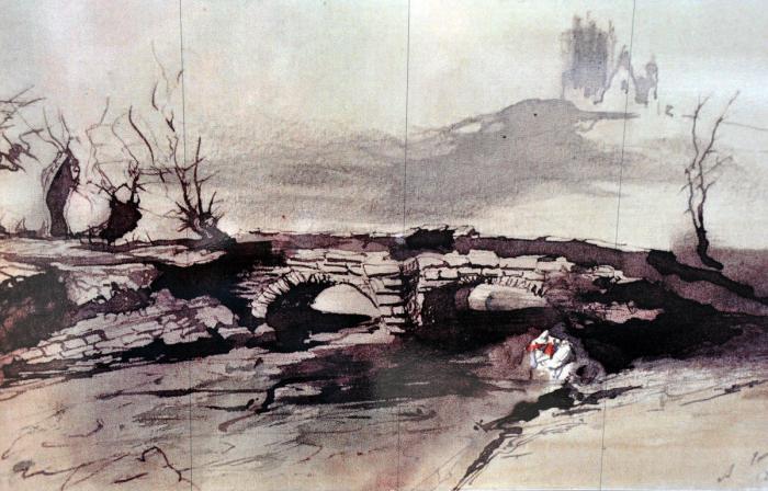 Le pont Madeleine et le château des comtes de Salm, dessin de Victor Hugo...