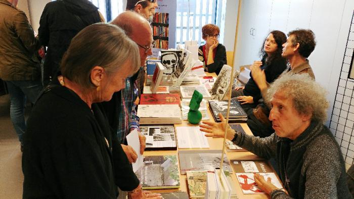 """Christian Deblanc, auteur et photographe, Anne-Françoise Rouche, Eve Deluse et Thierry Van Hasselt (La """"S"""" et FREMOK)"""